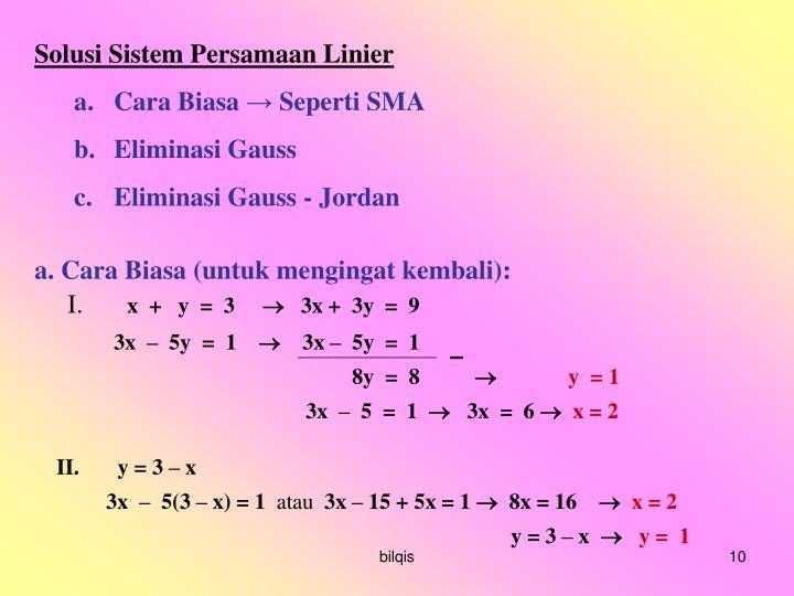 Solusi Sistem Persamaan Linier