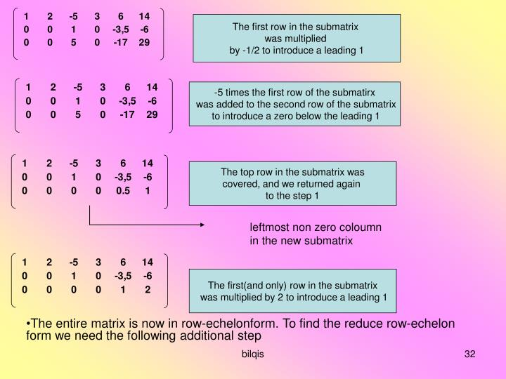 The first row in the submatrix