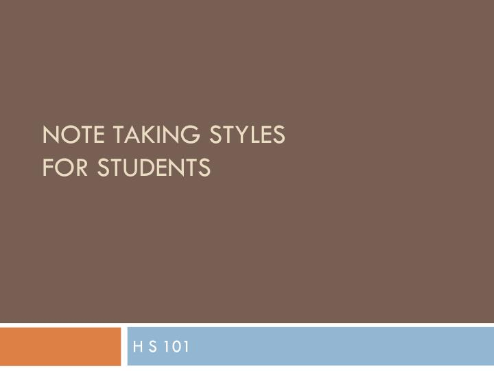 note taking styles for students n.