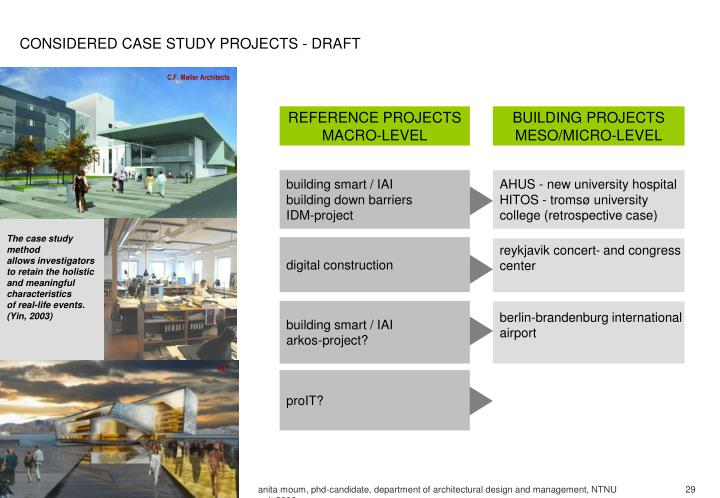 CONSIDERED CASE STUDY PROJECTS - DRAFT