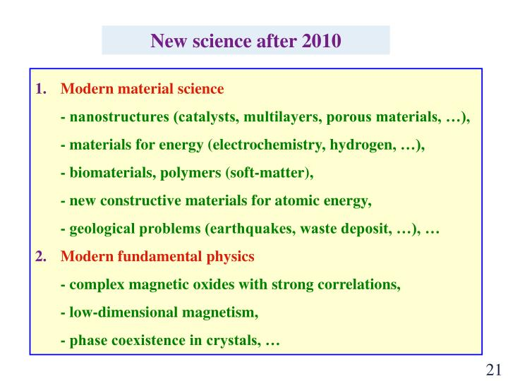 New science after 2010