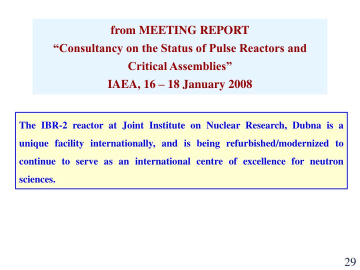 from MEETING REPORT