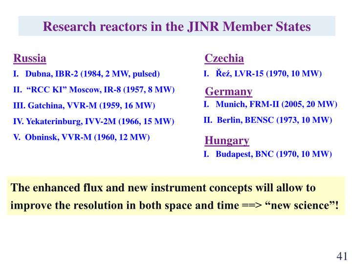 Research reactors in the JINR Member States
