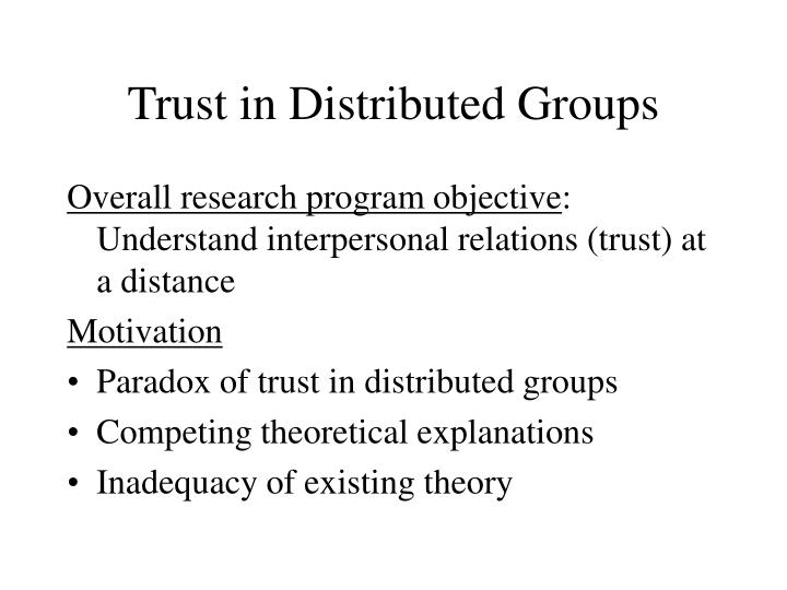 interpersonal trust thesis Networks of professionals: the role of reciprocity, interpersonal trust, and transactive memory system a thesis presented in partial fulfilment of the.