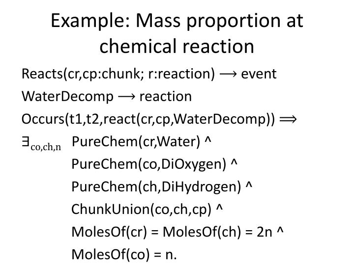 Example: Mass proportion at chemical reaction