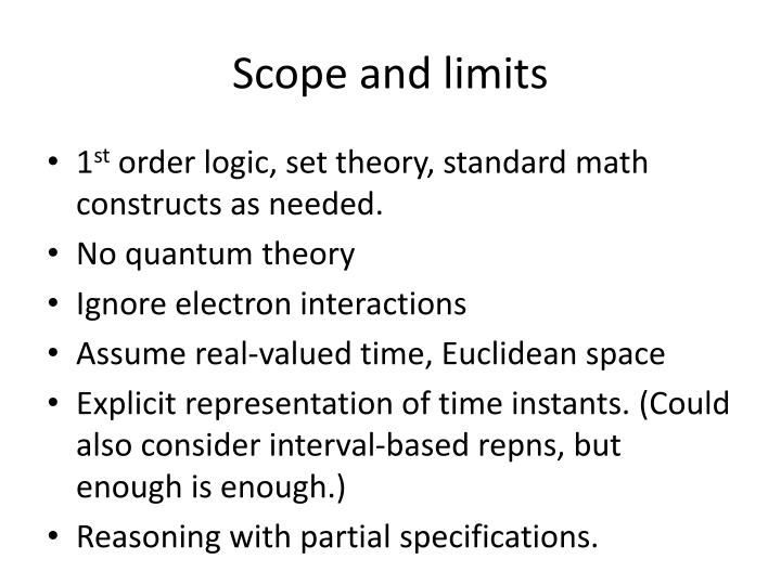 Scope and limits