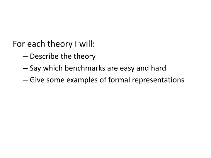 For each theory I will: