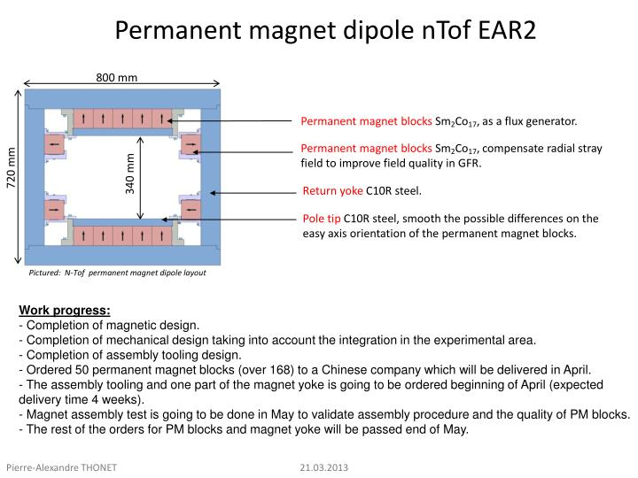 Permanent magnet dipole ntof ear2