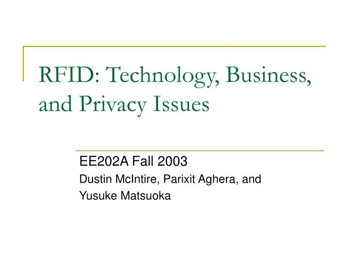 rfid technology business and privacy issues n.