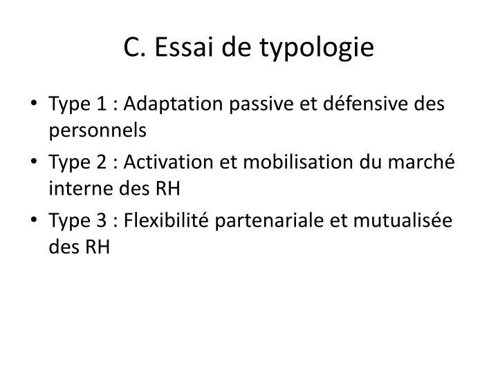 C. Essai de typologie