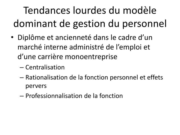 Tendances lourdes du modèle dominant de gestion du personnel