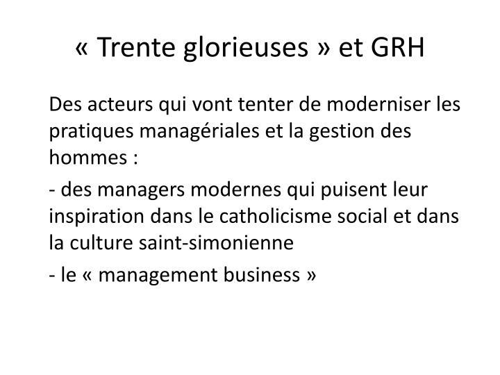 «Trente glorieuses» et GRH