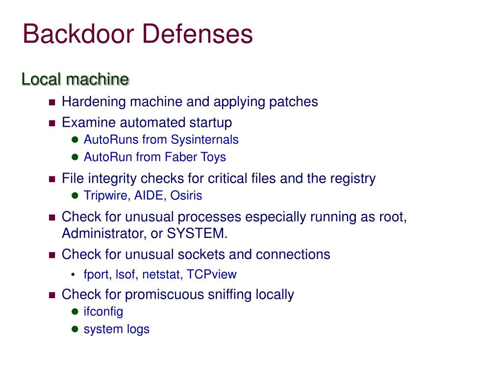 PPT - Backdoors PowerPoint Presentation - ID:4468924