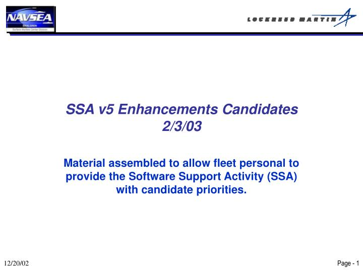ssa v5 enhancements candidates 2 3 03 n.
