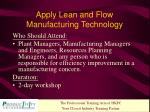 apply lean and flow manufacturing technology1