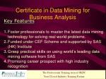 certificate in data mining for business analysis