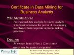 certificate in data mining for business analysis1