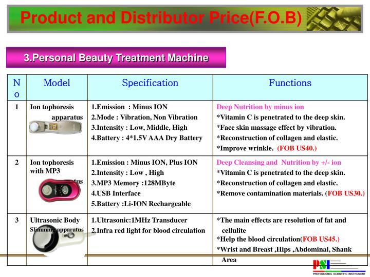 Product and Distributor Price(F.O.B)
