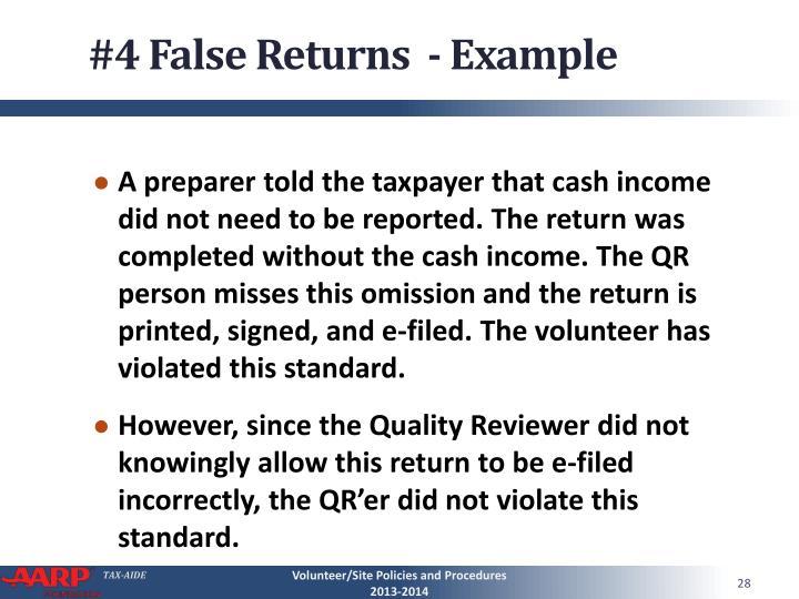 #4 False Returns  - Example