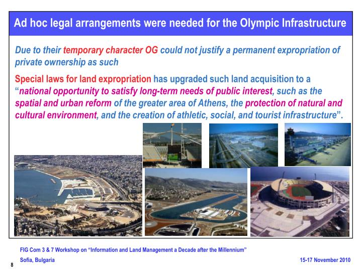 Ad hoc legal arrangements were needed for the Olympic Infrastructure