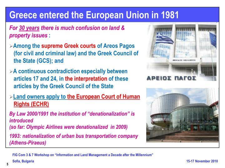 Greece entered the European Union in 1981