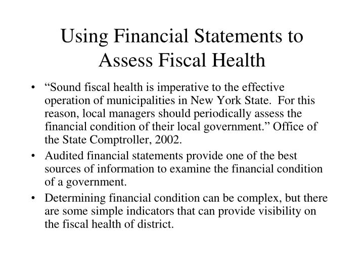 Using Financial Statements to Assess Fiscal Health