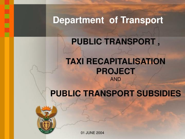 public transport taxi recapitalisation project and public transport subsidies n.
