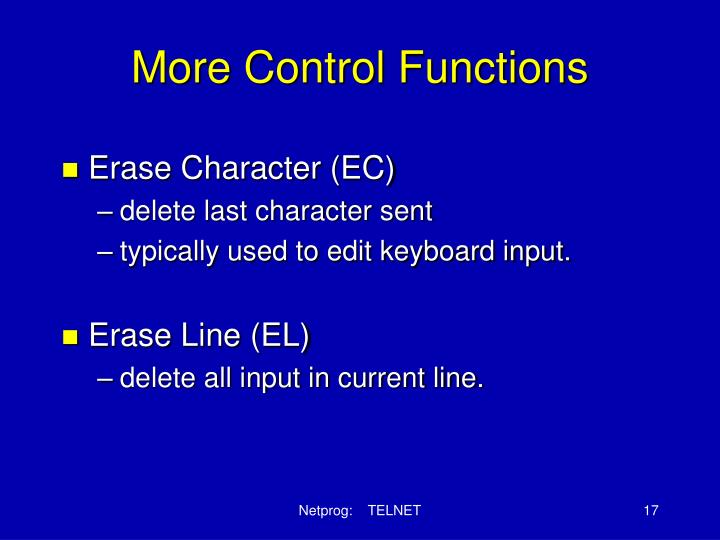 More Control Functions