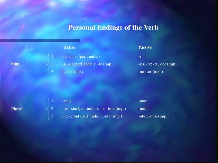 Personal Endings of the Verb