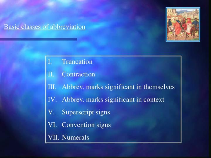 Basic classes of abbreviation