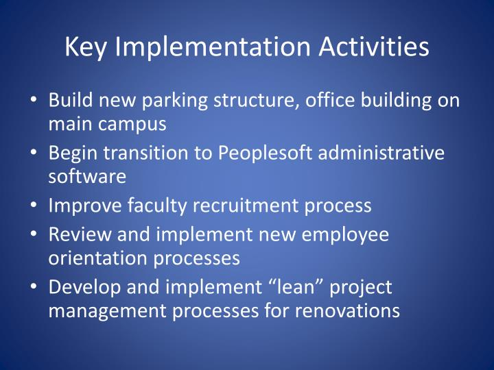 Key Implementation Activities