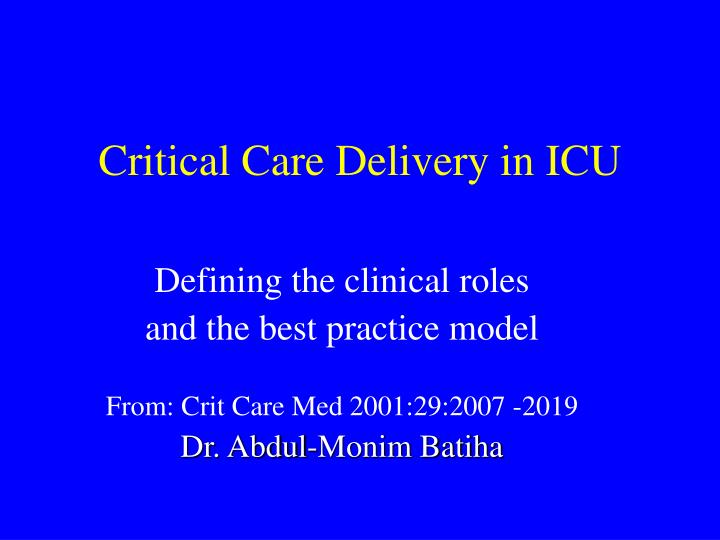 critical care delivery in icu n.