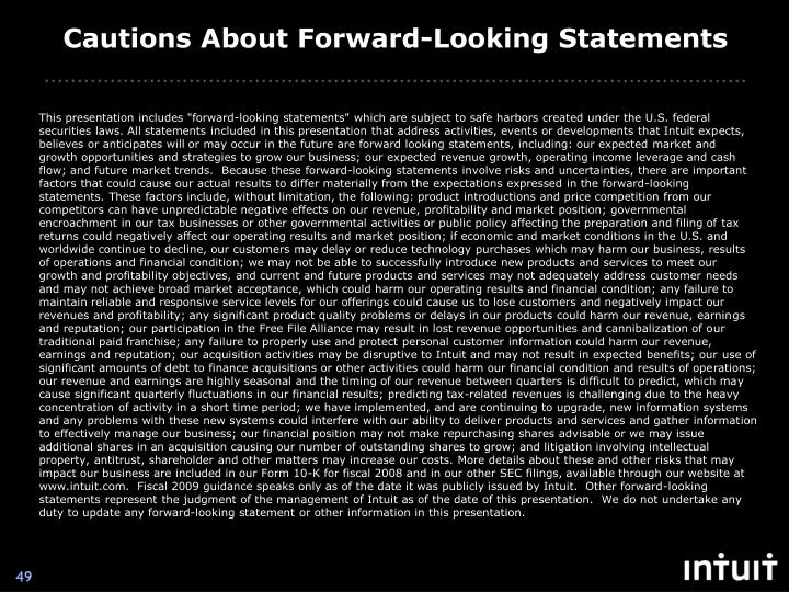 Cautions About Forward-Looking Statements