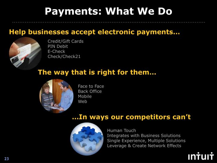 Payments: What We Do