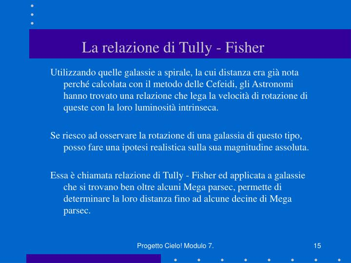 La relazione di Tully - Fisher