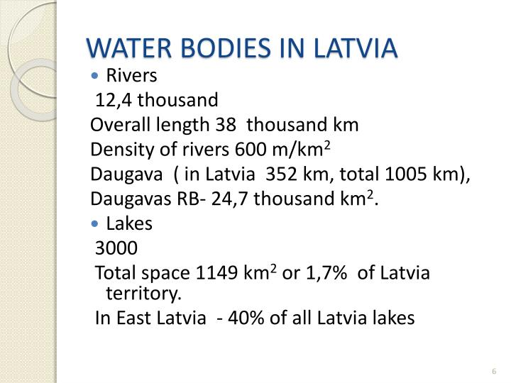 WATER BODIES IN LATVIA