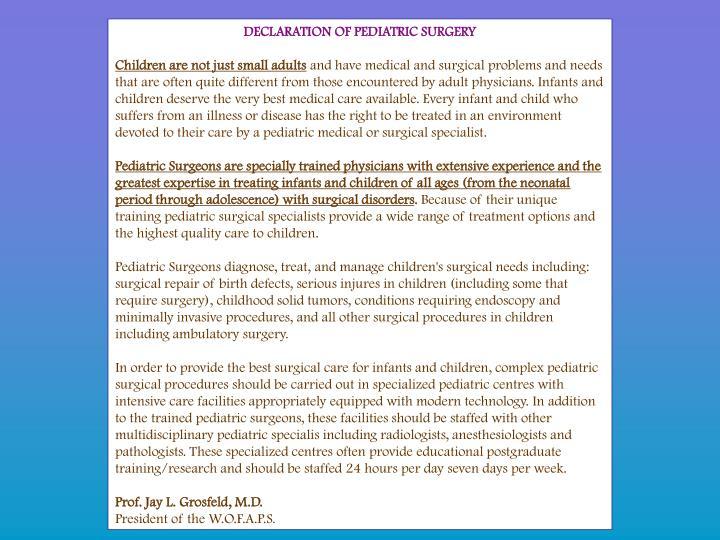 DECLARATION OF PEDIATRIC SURGERY