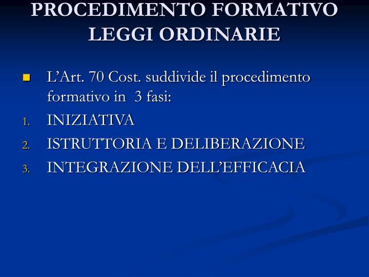 Procedimento formativo leggi ordinarie