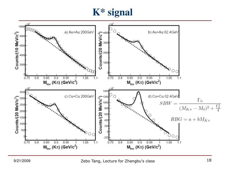 K* signal