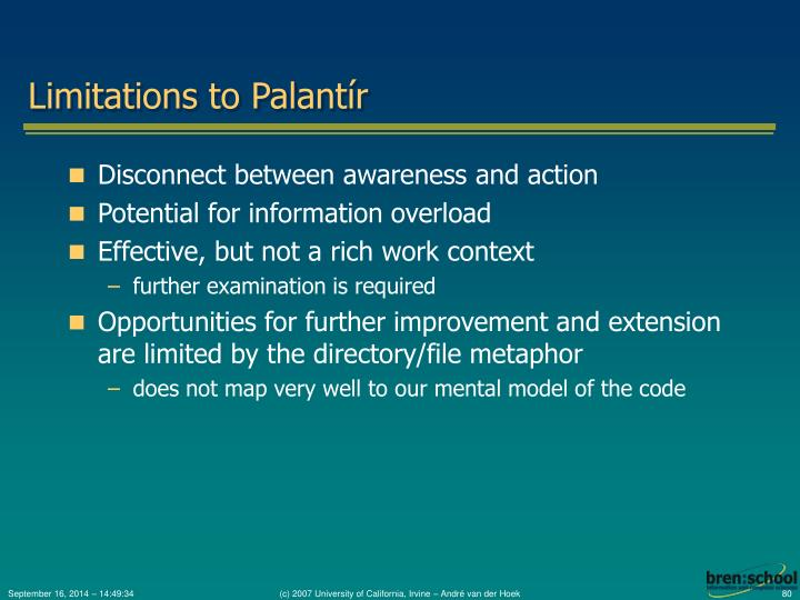 Limitations to Palantír