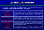 la notitia criminis