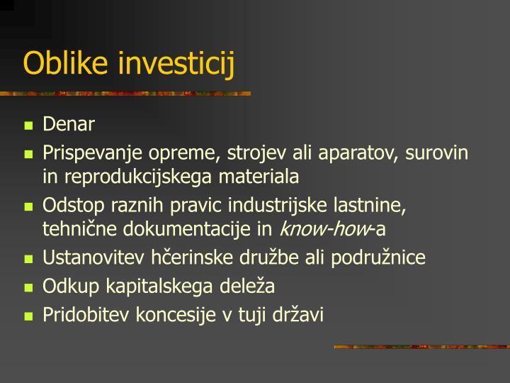 Oblike investicij