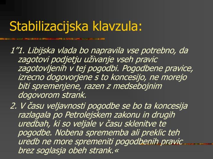 Stabilizacijska klavzula:
