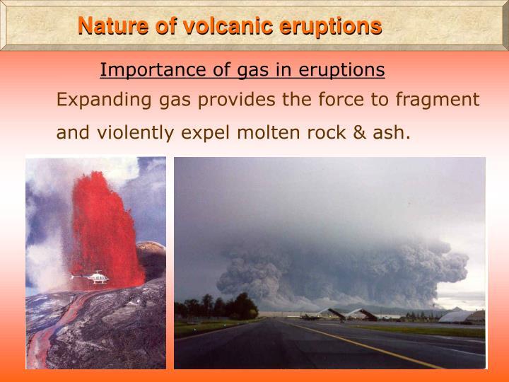 Nature of volcanic eruptions