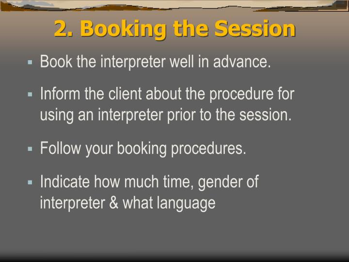 2. Booking the Session