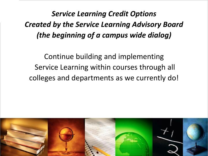 Service Learning Credit Options