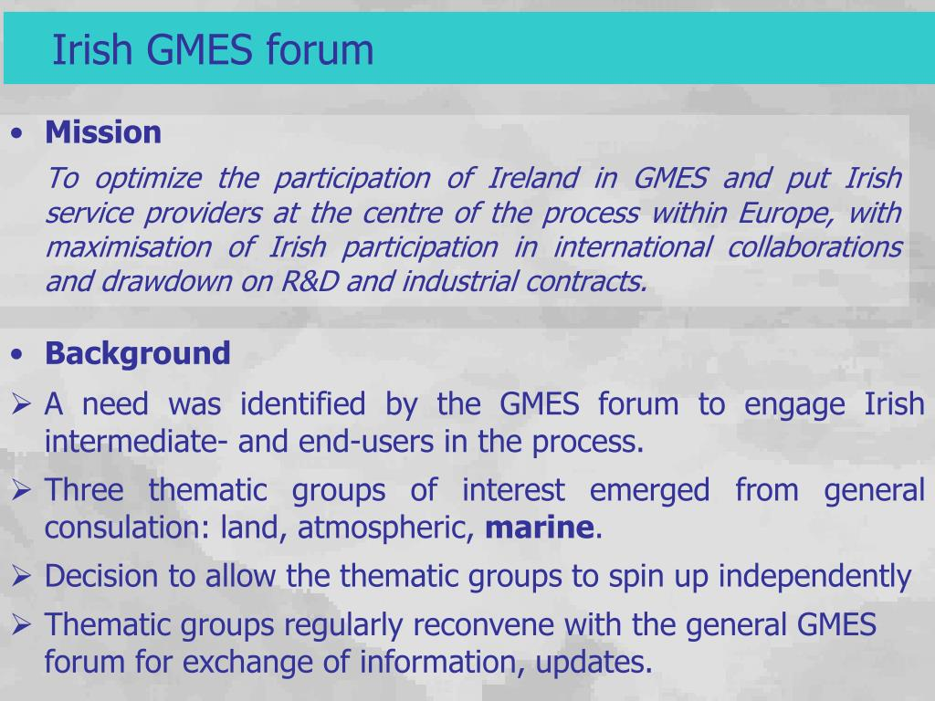 PPT - Ireland – GMES forum GMES-Marine working group
