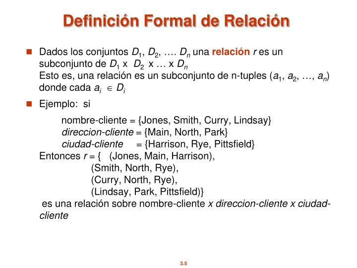 Definición Formal de Relación