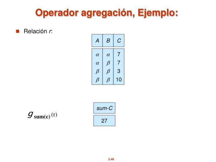 Operador agregación, Ejemplo: