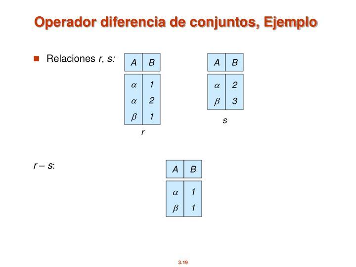 Operador diferencia de conjuntos, Ejemplo
